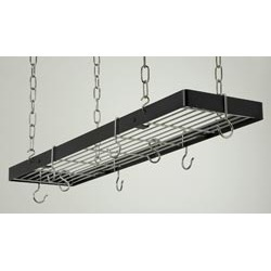 Rogar 35 inch Rectangular Hanging Pot Rack in Black