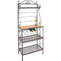 Grace Gourmet Style Bakers Rack, 1 Maple/3 Wire Shelves, Wine Rack, No Brass Tips, Cobblestone