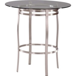 Trica Porto Bar Height Table with Glass Top, 42-1/8 H, 36 Dia. Glass Top, Gunmetal found on Bargain Bro India from Kitchen Source for $530.00