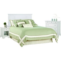 Home Styles Naples Queen Headboard, Night Stand & Drawer Chest , White Finish