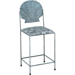 Grace Sea-Style Bar Stool with Decorative Clam Back and Fabric Upholstered Seat 18 inch found on Bargain Bro India from Kitchen Source for $202.77