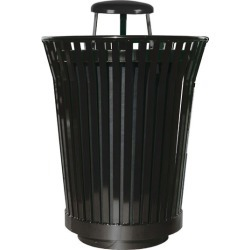Witt Receptacle with Rain Cover Lid and Plastic Liner, 36 Gallons, 29Dia. x 42-1/4H