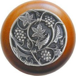 Notting Hill Grapevines/Natural Wood Knob, Antique Pewter, 1 1/2 inch diameter