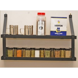 Rogar 2-Tier Spice Rack, Black & Lacquered Natural Wood