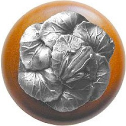 Notting Hill Leap Frog/Natural Wood Knob, Antique Pewter, 1 1/2 inch