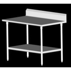 John Boos SS Work Table, 6 inch Backsplash, Galvanized Shelf & Legs, 120 inchW x 24 inchD, 6 Legs found on Bargain Bro India from Kitchen Source for $1257.45