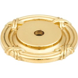 Schaub Solid Brass Forgings Rectangular Backplate For Knob With Detailed Design, Polished Brass