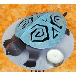 Covered Tin Turtle Luminaire with Tea