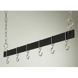 Rogar 42 inch hanging bar pot rack in Black finish with Chrome hooks