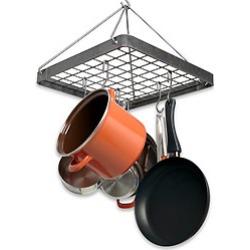 Enclume Hammered Steel Cottage Square Kitchen Pot Rack with Grid