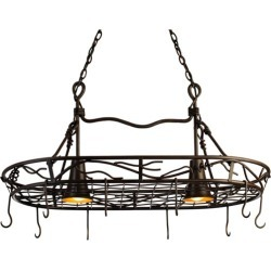 SteelWorx Large Contemporary Oval Hanging Pot Rack with Grid and 2 Downlights in Satin Nickel
