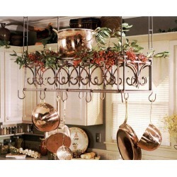 SteelWorx Regency Hanging Pot Rack with Handcrafted Finishes