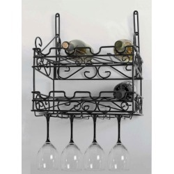Concept Housewares - Black Matte Metal Wall Wine Rack