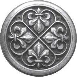 Notting Hill pewter Knob, Fleur-de-lis, Antique Pewter, 1-3/8 inch diameter