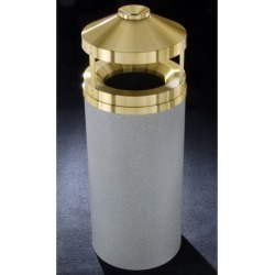 Glaro Canopy Top Wastemaster? with Built-In Cigarette Receptacle, 33 Gal, 20 Dia. x 42 H, Satin Brass Cover, Hunter Green, Finis found on Bargain Bro Philippines from Kitchen Source for $616.28