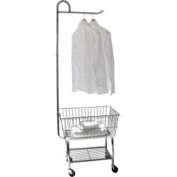 Neu Home Rolling Chrome Laundry Cart w/ Garment Rack, 24 W  x 20 D x 69 H, Chome Finish