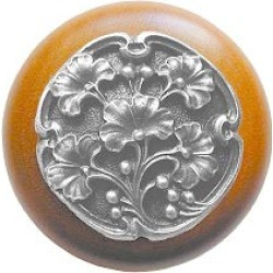 Notting Hill Gingko Berry/Natural Wood Knob, Antique Pewter, 1 1/2 inch