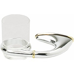 Alno Solei II Series Glass Tumbler with Left Hand Holder in Polished Chrome with Gold found on Bargain Bro India from Kitchen Source for $89.15