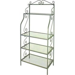 Grace 24 inch Traditional Graduated Bakers Rack, 4 Wood Shelves, Brass Tips, Satin Black, Walnut found on Bargain Bro Philippines from Kitchen Source for $784.80