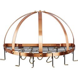 Old Dutch Steel Half Round Wall Mount Pot Rack with Grid Satin Copper Finish