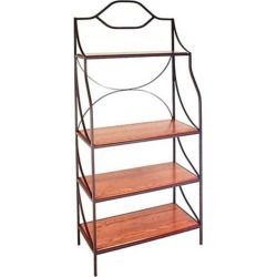 Grace Contemporary Style Bakers Rack, Jade Patina, Glass Shelves