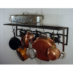 Rainsford and Gale Ocean Life Dark Wrought Iron Wall Mount Pot Rack with Shelf
