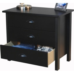 American Furnishings 3 Drawer Nouvelle Chest, 28?  W x 16 D x 24? H, Black