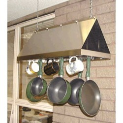 Stainless Craft Hooded Hanging Pot Rack Finished in Black White or Biscuit
