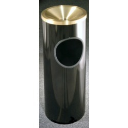 Glaro Mount Everest Series Satin Brass Funnel Top Ash/Trash Receptacle in Desert Stone, 9 inch Dia x 23 inch H, 3 Gal, Shown in  found on Bargain Bro India from Kitchen Source for $201.88