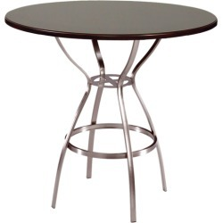 Trica Amsterdam Dining Height Table with Natural Melamine Top, 29 H, 36 Dia. Melamine Top, Gunmetal