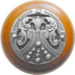 Notting Hill Regal Crest/Natural Wood Knob, Antique Pewter, 1 1/2 inch