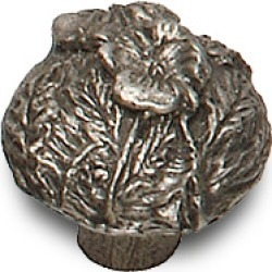 Premier Hardware Knob With Flower Patch Design, 1-3/16 inch dia., 1 inch proj., natural pewter
