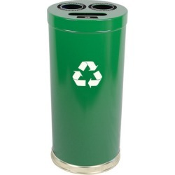Witt Steel Combo Recycling Trash Container, Green, 24 Gal.