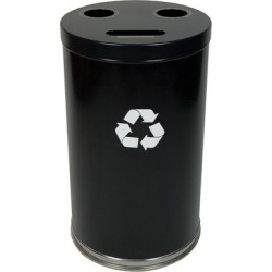 Witt Steel Combo Recycling Trash Container, Black, 33 Gal.