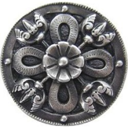 Notting Hill pewter or bronze, Celtic Shield Knob, Antique Pewter, 1 1/8 inch diameter