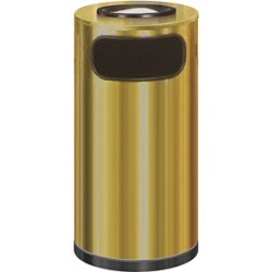 United Receptacle 9 gallon half round crimson and brass trash can with leak proof liner found on Bargain Bro from Kitchen Source for $157.69