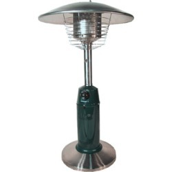 Uniflame Round Table Top Outdoor Patio Heater with Extension Hose in Stainless/Hunter Green