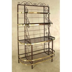 Grace 48 inch French Bow Style Bakers Rack, Brass Trim and Brass Tips, Jade Patina found on Bargain Bro Philippines from Kitchen Source for $1153.56