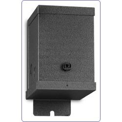 Hafele 150W Transformer, black powder coated steel, 12V, 3+ inchW x 3+ inchD x 8+ inchH
