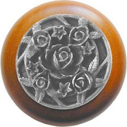 Notting Hill Saratoga Rose/Natural Wood Knob, Antique Pewter, 1 1/2 inch