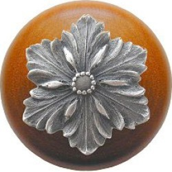 Notting Hill Opulent Flower/Cherry Wood Knob, Antique Pewter, 1 1/2 inch