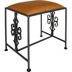 Grace Gothic Curl Wrought Iron Bench, 36in, Natural Duck Fabric, Cobblestone Finish found on Bargain Bro Philippines from Kitchen Source for $270.00