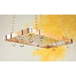 Rogar Wood/Metal Ceiling Hung Pot Rack with Grid Cherry Wood/Copper