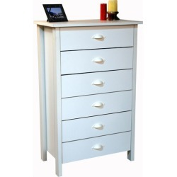 American Furnishings 6 Drawer Nouvelle Chest, 28?  W x 16 D x 44? H, White