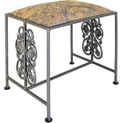 Grace Rosegarden Wrought Iron Bench, 36in, Jungle Fabric, Sand Finish found on Bargain Bro Philippines from Kitchen Source for $270.00