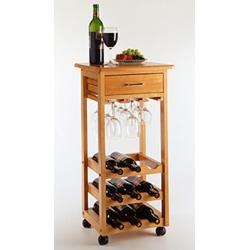 Winsome Wood Kitchen Cart w/ 9 Bottle Wine Rack, Oak Finish