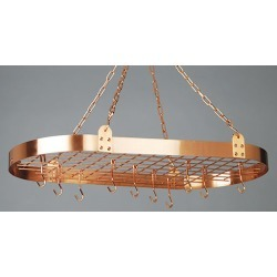 Old Dutch Satin Copper Oval Hanging Kitchen Pot Rack with Grid