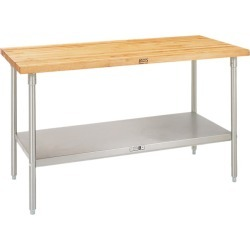 John Boos TNS Stainless Steel Table, 60in x 30in, w/ Maple Top found on Bargain Bro from Kitchen Source for USD $694.69