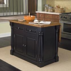 Home Styles Monarch Kitchen Island, Black & Oak Finish, 48W x 25D x 36H