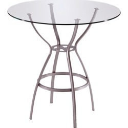 Trica Rome Dining Height Table with Glass Top, 28-1/2 H, 36 Dia. Glass Top, Silver found on Bargain Bro Philippines from Kitchen Source for $298.00